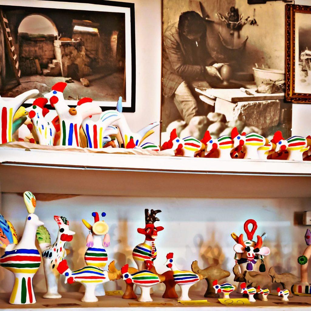 Casa Museo della Cola Cola: fischietti tradizionali pugliesi su scaffali