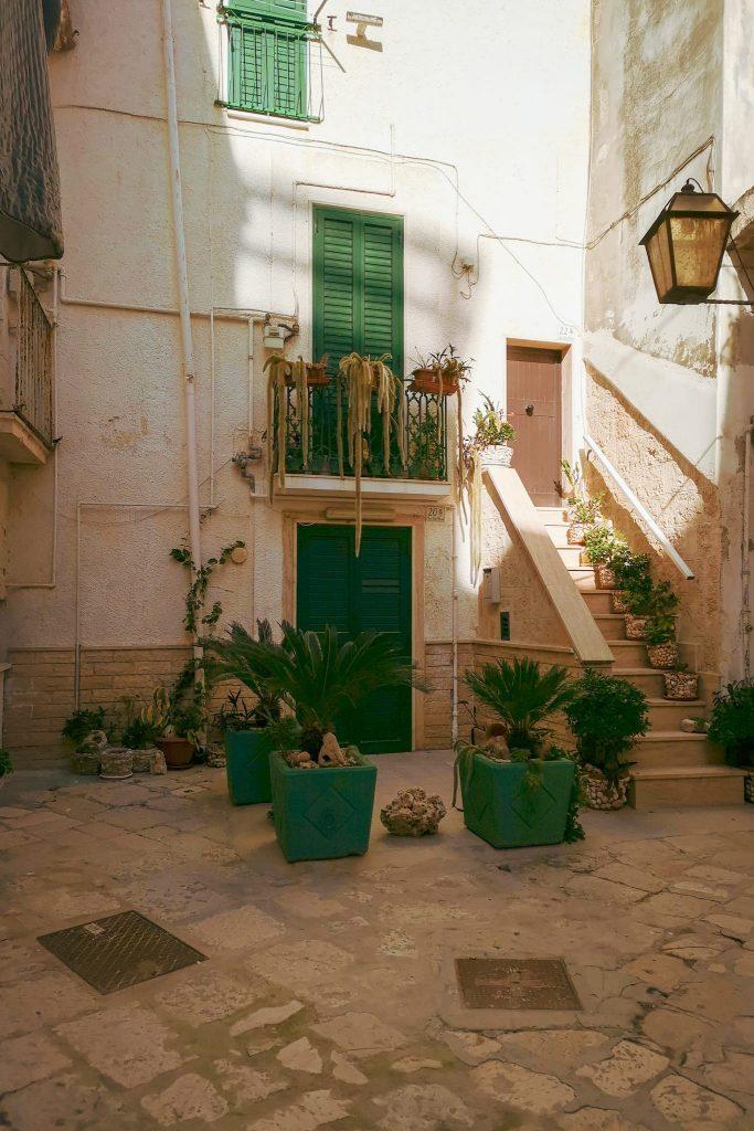 Chiasso antico: ingresso a un'antica abitazione con scaletta esterna e molte piante rampicanti