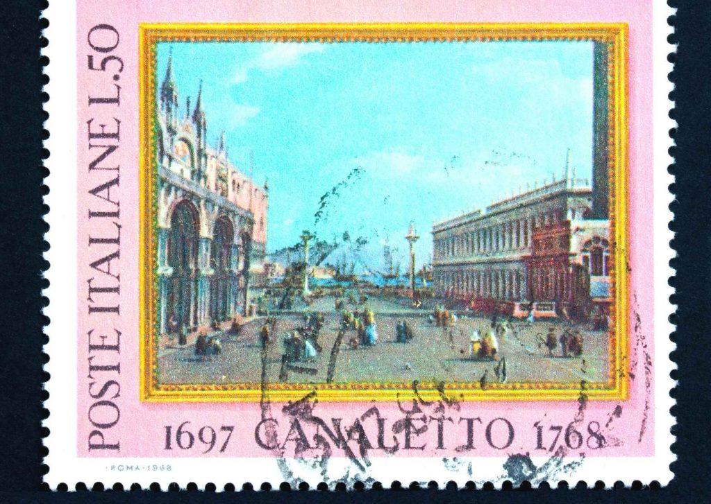 francobollo con la veduta di Venezia in un'opera di Canaletto