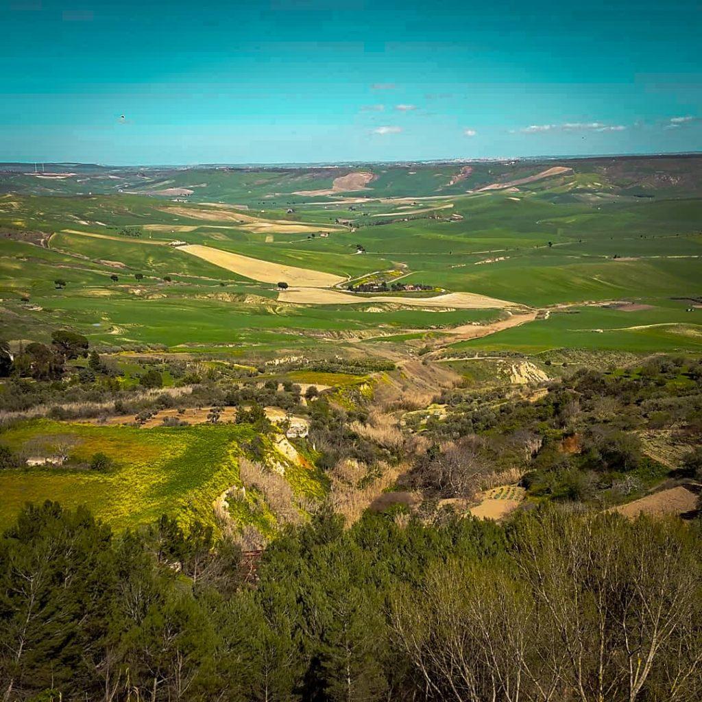 Panorama con la verde vallata del Bradano su cui si affacciano le mura di Irsina