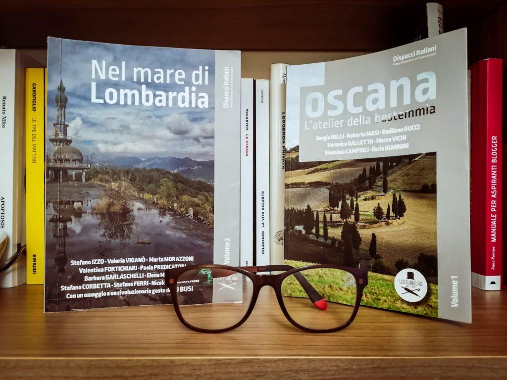 Dispacci italiani: i primi due volumi in esposizione. Paio di occhiali rotti come elemento decorativo