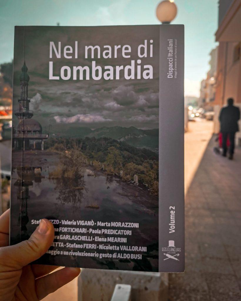Nel mare di Lombardia: libro fotografato con paesaggio urbano sullo sfondo
