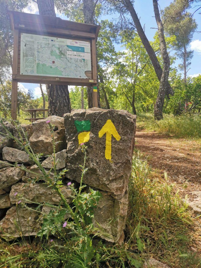 Bosco Selva: ingresso. Cartellone con mappa e segni verdi e gialli tipici del cammino materano sul muretto a secco