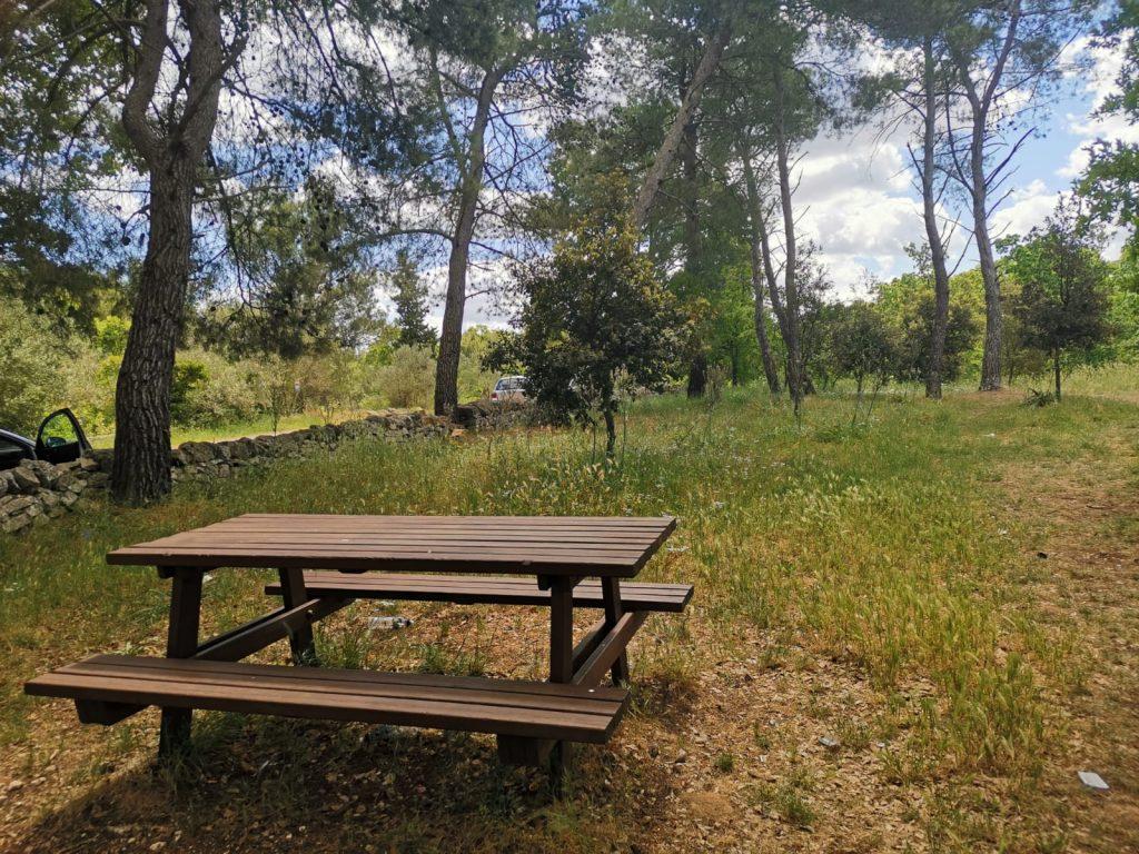 picnic nel bosco selva di Alberobello: tavolo di legno all'ombra fra tipici muretti a secco