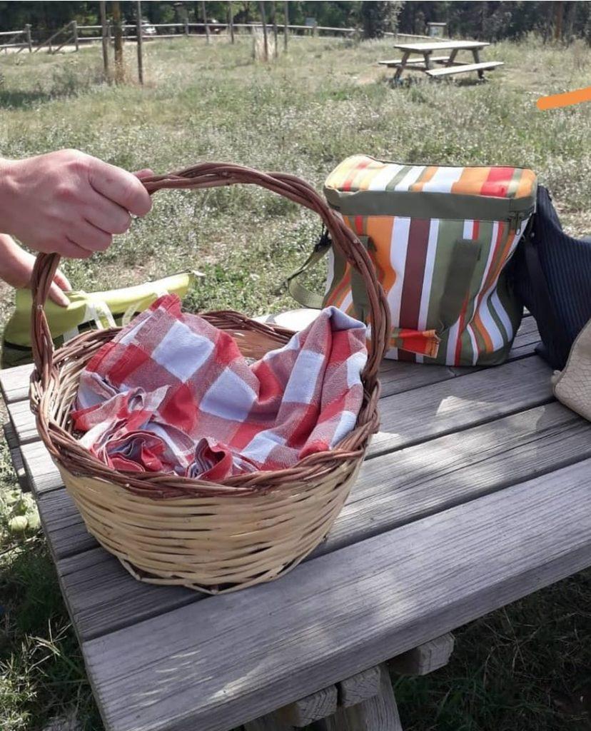 cestino da picnic con tovaglia rossa a quadri su tavolo di legno