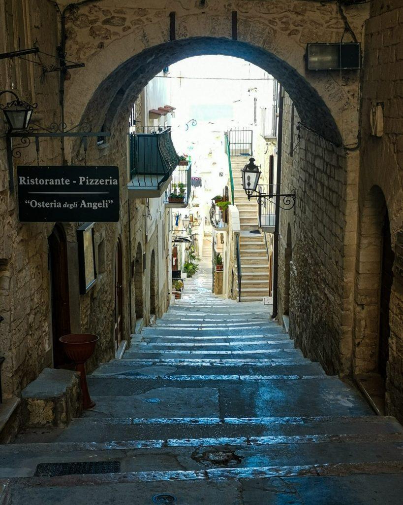 Vieste: arco a sesto tondo su una sezione di scalinata. Ai lati lampioni, case, l'insegna di un'osteria, scalette private, piante sui balconcini